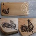 Wood Burnt Rooster Camphor Laurel Cutting Board