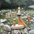 Toys of Wood Sail boat with fishing rod and two river people
