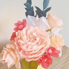 Spring Bouquet || crepe paper flowers, home decor, flower bouquets.