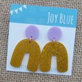Mauve and gold glitter arch earrings