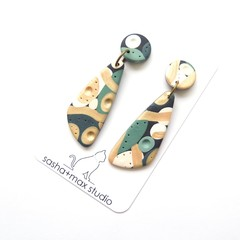 Soft Wedge drop polymer clay earrings