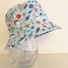 Boys summer hat in Under the Sea fabric