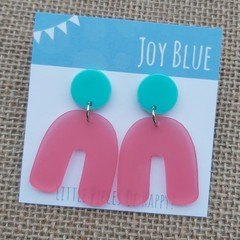 Mint and peach arch earrings