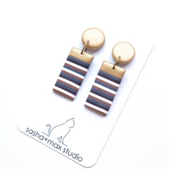 Metallic gold stripe Rectangle drop polymer clay earrings