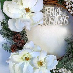 MERRY CHRISTMAS WREATH - White Magnolia Christmas Wreath - (50 cms)