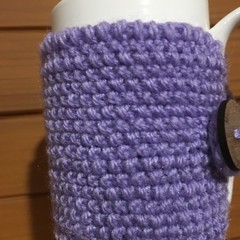 Handmade purple cozy or mug, tea cosy, coffee cozy, mug cozy, purple cozy