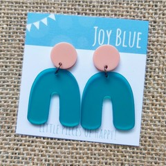 Peach and teal arch earrings