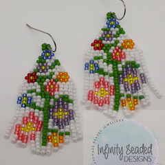 White Green Pink Purple Yellow Flower Bead Earrings Dangle Tassel Drop Fringe