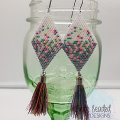 White Grey Pink Purple Yellow Bead Earrings Dangle Tassel Drop Fringe Boho