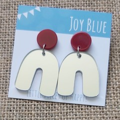 Deep red on silver mirror arch earrings