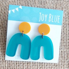 Mustard and teal arch earrings