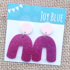 Pink on pink glitter arch earrings