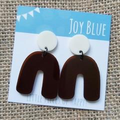 Cream and dark burgundy arch earrings