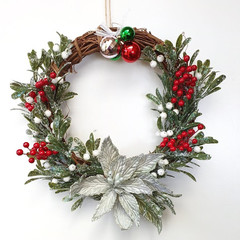 Christmas Wreath (32 cms) - Artificial Green Poinsettia with Holly & Mistletoe