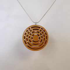 Wooden Pendant  Double Sided Lattice Style See Through Pendant