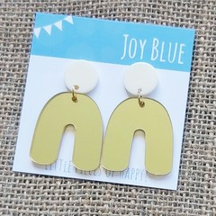 Cream and gold mirror arch earrings