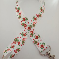 Red and green candy cane lanyard / ID holder / badge holder