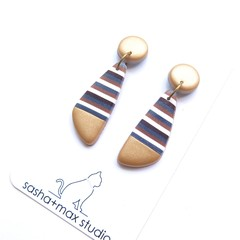 Metallic gold stripe drop polymer clay earrings