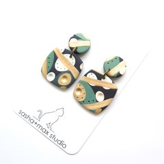 Soft Square drop polymer clay earrings