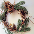 Christmas Wreath (25 cms)- Twisted Vine with Glittery Gold Bird