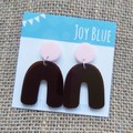 Pink and dark burgundy arch earrings
