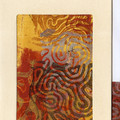 SET OF 4 ORIGINAL ART CARDS - Earth Abstract Monoprint Series 1, 2, 3 & 4