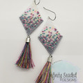 White Grey Pink Purple Yellow Bead Earrings Dangle Tassel Drop Fringe Boho