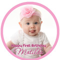Round pre-cut Edible Icing Cake Topper with Your Photo - EI022R