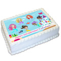 Mermaid Under The Sea Rectangle Edible Icing Cake Topper - EI011A4