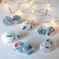 Snowflake Christmas Festive Statement Mini Studs - Marbled