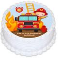 Fireman Fire Engine Pre-cut Round Edible Icing Cake Topper - EI288R