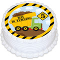 Dump Truck Round Edible Icing Cake Topper - PRE-CUT - FREE EXPRESS SHIPPING