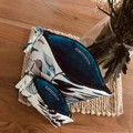 Zippered Pouch Set - Blue and White Water Color Design