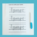 Wipe clean name writing card and marker set