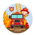 Fireman Round Edible Icing Cake Topper - PRE-CUT - EI288R