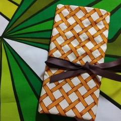 Crochet Hook Handy Wrap-Mustard/Brown/Cream Trellis Print