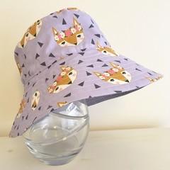 Girls summer hat in pretty fox fabric