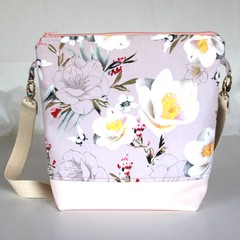 Pink floral sateen satchel bag
