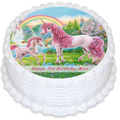 Unicorn Horse Round Edible Icing Cake Topper - PRE-CUT - FREE EXPRESS SHIPPING