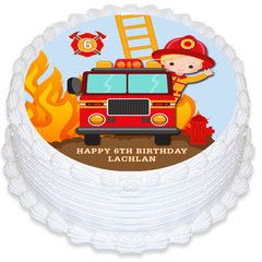 Fireman Round Edible Icing Cake Topper - PRE-CUT - FREE EXPRESS SHIPPING