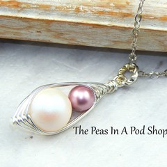 Two Peas In A Pod - Mother And Daughter Wire Wrapped SilverNecklace