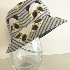 Boys summer hat in grey pandas fabric