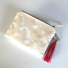 Cream and gold ladies make up zippered pouch