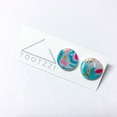 Snowflake Christmas Festive Statement Mini Studs - Marbled