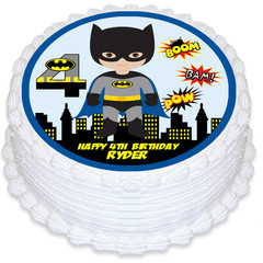 Superhero Batman Round Edible Icing Cake Topper - PRE-CUT - FREE EXPRESS SHIP
