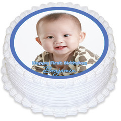 Round Edible Icing Cake Topper with Your Photo - PRE-CUT - FREE EXPRESS SHIPPING