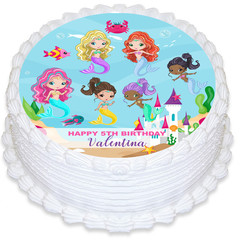 Mermaid Round Edible Icing Cake Topper - PRE-CUT - FREE EXPRESS SHIPPING