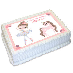 Ballerina Dance Pony Rectangle Edible Icing Cake Topper - FREE EXPRESS SHIPPING