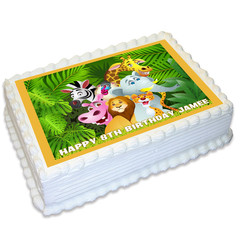 Jungle Animal Safari Rectangle Edible Icing Cake Topper - FREE EXPRESS SHIPPING