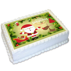 Christmas Xmas Rectangle Edible Icing Cake Topper - FREE EXPRESS SHIPPING